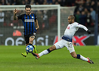 Football - 2018 / 2019 UEFA Champions League - Group B: Tottenham Hotspur vs. Inter Milan<br /> <br /> Lucas Moura (Tottenham FC) stretches to make the tackle on Matteo Politano (Inter Milan) at Wembley Stadium.<br /> <br /> COLORSPORT/DANIEL BEARHAM