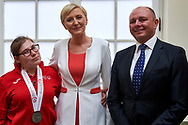Warsaw, Poland - 2017 March 31: (C) First Lady Agata Kornhauser-Duda poses to the picture with (R) Krzysztof Lewandowski President of EuCO Company Main Sponsor of Special Olympics Poland and (L) Special Olympics Athlete while meeting with Special Olympics Athletes at Polish President's Palace on March 31, 2017 in Warsaw, Poland.<br /> <br /> Mandatory credit:<br /> Photo by © Adam Nurkiewicz / Mediasport<br /> <br /> Adam Nurkiewicz declares that he has no rights to the image of people at the photographs of his authorship.<br /> <br /> Picture also available in RAW (NEF) or TIFF format on special request.<br /> <br /> Any editorial, commercial or promotional use requires written permission from the author of image.<br /> <br /> Image can be used in the press when the method of use and the signature does not hurt people on the picture.