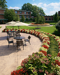 Late summer afternoon view on the courtyard of the Wesley Enhanced Living location at Pennypack Park