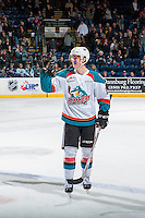KELOWNA, CANADA - MARCH 4: Kole Lind #16 of the Kelowna Rockets waves good-bye to the Tri-City Americans after a 4-2 win on March 4, 2017 at Prospera Place in Kelowna, British Columbia, Canada.  (Photo by Marissa Baecker/Shoot the Breeze)  *** Local Caption ***