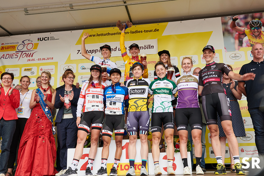 The celebrated riders Ellen van Dijk (NED), Lisa Brennauer (GER), Lucinda Brand (NED), Liane Lippert (GER), Coryn Rivera (USA), Kathrin Hammes (GER), Jacquueline Dietrich (GER), Hannah Ludwig (GER), Eugenia Bujak (POL) at Lotto Thuringen Ladies Tour 2018 - Stage 7, an 18.7 km time trial starting and finishing in Schmölln, Germany on June 3, 2018. Photo by Sean Robinson/velofocus.com