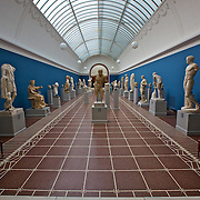 Roman ancestors on display in the blue room at the Ny Carlsberg Glyptotek museum in Copenhagen, Denmark