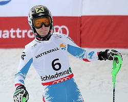 16.02.2013, Planai, Schladming, AUT, FIS Weltmeisterschaften Ski Alpin, Slalom, Damen, 2. Durchgang, im Bild Kathrin Zettel (AUT) // Kathrin Zettel of Austria reacts after womens Slalom at the FIS Ski World Championships 2013 at the Planai Course, Schladming, Austria on 2013/02/16. EXPA Pictures © 2013, PhotoCredit: EXPA/ Martin Huber