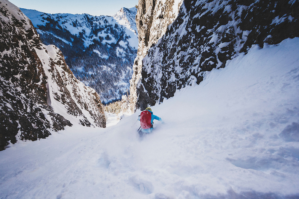 Caroline Gleich skiing Benson and Hedges couloir in the Wasatch Mountains.