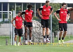 24.07.2015, Sportplatz, Walchsee, AUT, Trainingslager, FC Augsburg, im Bild (v.li.) Daniel Baier, Caiuby Francisco da Silva, Tim Matavz und Raphael Framberger // during the Trainingscamp of German Bundesliga Club FC Augsburg at the Sportplatz in Walchsee, Austria on 2015/07/24. EXPA Pictures © 2015, PhotoCredit: EXPA/ Eibner-Pressefoto/ Krieger<br /> <br /> *****ATTENTION - OUT of GER*****