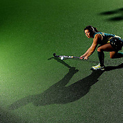 SUNSHINE COAST, AUSTRALIA - APRIL 04:  ((EDITORS NOTE, A Polariser was used in the creation of this digital image)  Jade Close poses during an Australian women's Hockeyroos hockey portrait session at the Sunshine Coast sports complex on April 4, 2012 in Sunshine Coast, Australia.  (Photo by Chris Hyde/Getty Images) *** Local Caption *** Jade Close