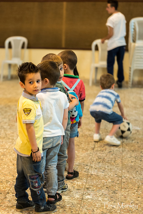 Children playing and learning at the Kamishli Evangelical Presbyterian Church in Syria.
