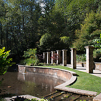 A hidden garden and fountain at Belknap Hot Springs, a resort, campground, and hot springs located near McKenzie Bridge, Oregon.