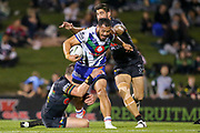 Leeson Ah Mau takes on the defence. Penrith Panthers v Vodafone Warriors. NRL Rugby League. Penrith Stadium, Sydney, Australia. 17th May 2019. Copyright Photo: David Neilson / www.photosport.nz