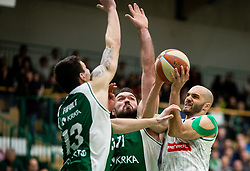 Ziga Fifolt of Krka and Dalibor Dzapa of Krka vs Boban Tomic of Petrol Olimpija during basketball match between KK Krka and KK Petrol Olimpija in 22nd Round of ABA League 2018/19, on March 17, 2019, in Arena Leon Stukelj, Novo mesto, Slovenia. Photo by Vid Ponikvar / Sportida
