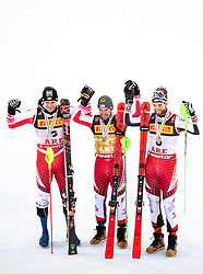 17.02.2019, Aare, SWE, FIS Weltmeisterschaften Ski Alpin, Slalom, Herren, Siegerehrung, im Bild v.l.: Silbermedaillengewinner Michael Matt (AUT), Weltmeister und Goldmedaillengewinner Marcel Hirscher (AUT), Bronzemedaillengewinner Marco Schwarz (AUT) // f.l.: Silver medalist Michael Matt of Austria World champion and gold medalist Marcel Hirscher of Austria Bronze medalist Marco Schwarz of Austria during the winner Ceremony for the men's Slalom of FIS Ski World Championships 2019. Aare, Sweden on 2019/02/17. EXPA Pictures © 2019, PhotoCredit: EXPA/ Johann Groder