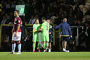 Burton Albion goalkeeper Harry Campbell (20) replaces Burton Albion goalkeeper Stephen Bywater (1), who goes off with a shoulder injury during the second round or the Carabao EFL Cup match between Burton Albion and Aston Villa at the Pirelli Stadium, Burton upon Trent, England on 28 August 2018.