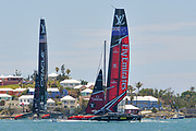challengers Oracle Team USA skippered by Jimmy Spithill vs Defenders Emirates Team New Zealand skippered by Peter Burling during the 35th America's Cup 2017, Day 4, on June 25, 2017 in Hamilton, Bermuda - Photo Christophe Favreau / ProSportsImages / DPPI