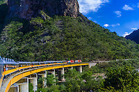 The Chihuahua al Pacifico Railroad (Chepe) train passes over the Santa Barbara Bridge, near Temoris, the Copper Canyon, Mexico