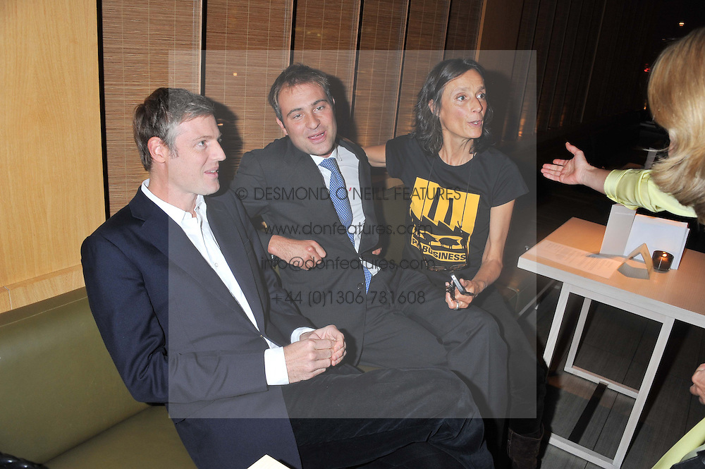 Left to right, brothers ZAC GOLDSMITH, BEN GOLDSMITH and the MARCHIONESS OF WORCESTER at the Pig Business Fundraiser, Sake No Hana, St.James's, London on 26th September 2012.