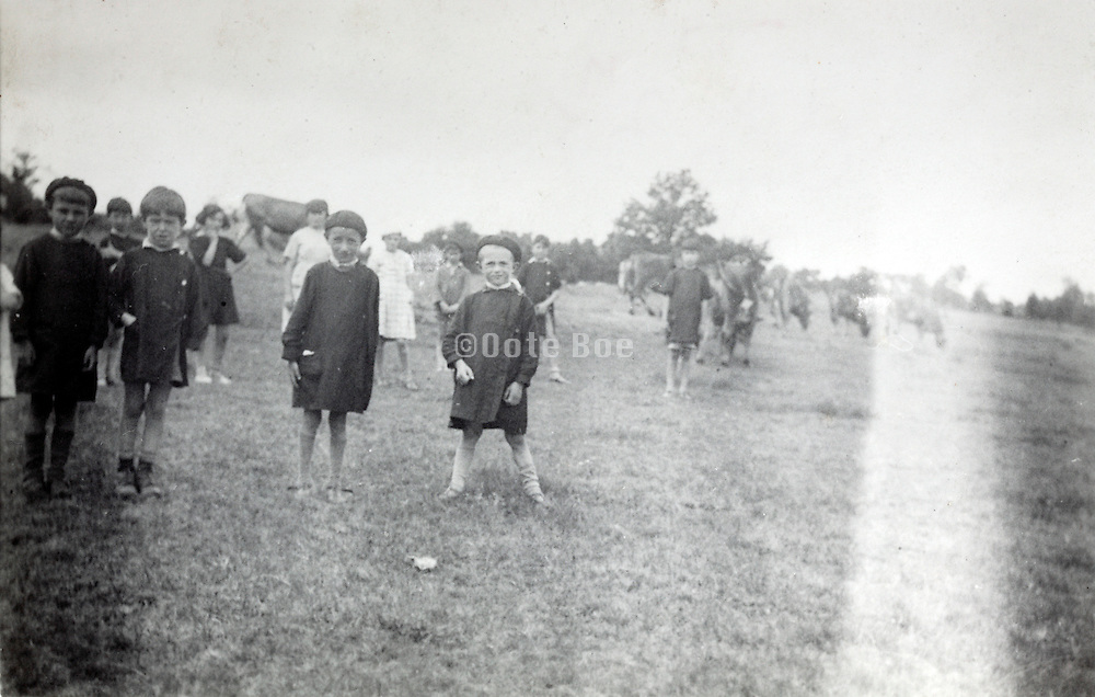 fading photo of school age children standing in a field with cows
