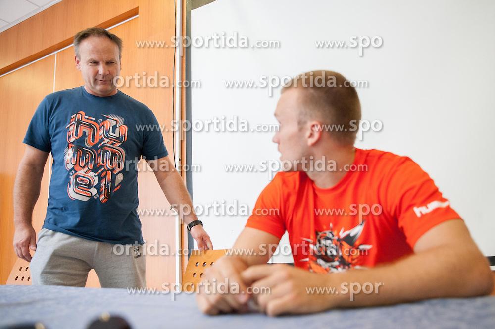Ivan Vajdl and Niko Medved during press conference of RK Gorenje before new handball season 2013/14 on July 31, 2013 in Gorenje, Velenje, Slovenia.  (Photo by Vid Ponikvar / Sportida.com)