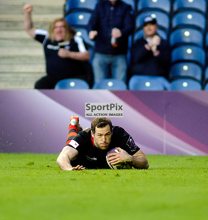 17/04/2015, Murrayfield, Scotland, Tim Visser dives over the line to score a try during the Edinburgh Rugby v Newport Gwent Dragons European Challenge Cup game, ......(c) COLIN LUNN | SportPix.org.uk