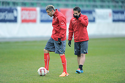 04.03.2014, AFG Arena, St. Gallen, SUI, Training der Schweizer Nationalmannschaft, vor dem Testspiel gegen Kroatien, im Bild Valon Behrami, Mario Gavranovic (SUI) // during a practice session of swiss national football team prior to the international frindley against Croatia at the AFG Arena in St. Gallen, Switzerland on 2014/03/04. EXPA Pictures © 2014, PhotoCredit: EXPA/ Freshfocus/ Claudia Minder<br /> <br /> *****ATTENTION - for AUT, SLO, CRO, SRB, BIH, MAZ only*****