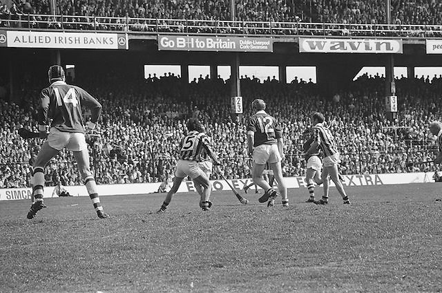 Players gathered waiting to receive the slitor during at the All Ireland Senior Hurling Final, Cork v Kilkenny in Croke Park on the 3rd September 1972. Kilkenny 3-24, Cork 5-11.