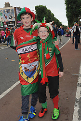 Wrapped up in Mayo Colours Daniel and Ronan Touhy from Bonniconlon All Ireland Final day Croke Park.<br /> Pic Conor McKeown