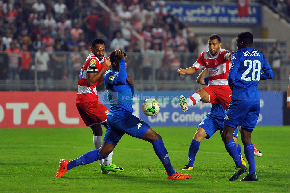 October 22, 2017 - Rades, Tunisia - Ibrahim Chenihi (C)of CA  in action during the Semi-final return of the CAF Cup between Club Africain (CA) and Supersport United FC of South Africa at the stadium of Rades  in Tunis..Club Africain lost (1-3) against the South African Super Sport Utd who will face TP Mazembe in the final. (Credit Image: © Chokri Mahjoub via ZUMA Wire)