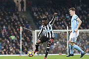 Christian Atsu during the Premier League match between Manchester City and Newcastle United at the Etihad Stadium, Manchester, England on 20 January 2018. Photo by George Franks.