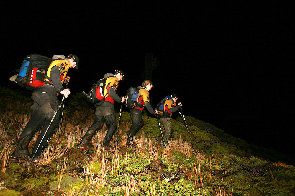The British Team Helly Hansen Prunesco treking at the finish of 2009 Wenger Patagonia Expedition Race at Cabo Forward in Patagonia, Chile, South America .Copyrighted work .Permission must be sought before use of this image..Alex Ekins .0114 2630277.07901883 994