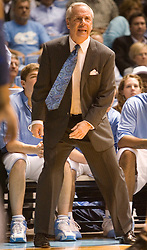 University of North Carolina head basketball coach Roy Williams encourages his team in action against the University of Virginia.   The #1 ranked Tar Heels beat the Cavaliers 79-69 to improved to 15-1 overall, 2-0 ACC on January 10, 2007 at the Dean Smith Center in Chapel Hill, NC.<br />