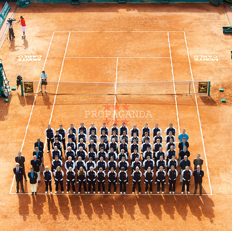 MONTE-CARLO, MONACO - Tuesday, April 13, 2010: The line judges and officials line up on centre court at the ATP Masters Series Monte-Carlo at the Monte-Carlo Country Club. (Photo by David Rawcliffe/Propaganda)