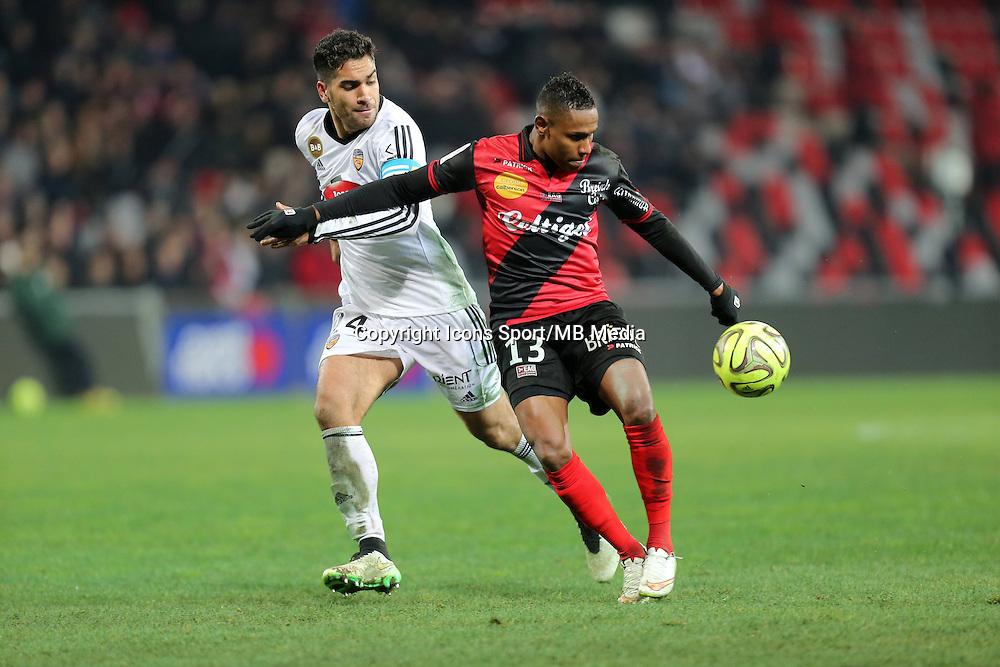 Christophe MANDANNE / Wesley LAUTOA  - 24.01.2015 - Guingamp / Lorient - 22eme journee de Ligue1<br />Photo : Vincent Michel / Icon Sport *** Local Caption ***