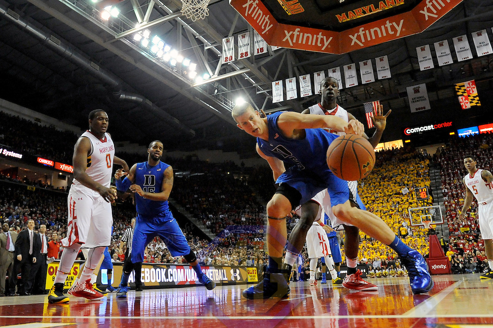 16 February 2013:   Duke Blue Devils forward Mason Plumlee (5) in action against Maryland Terrapins forward James Padgett (35) at the Comcast Center in College Park, MD. where the Maryland Terrapins upset the second ranked Duke Blue Devils, 83-81.