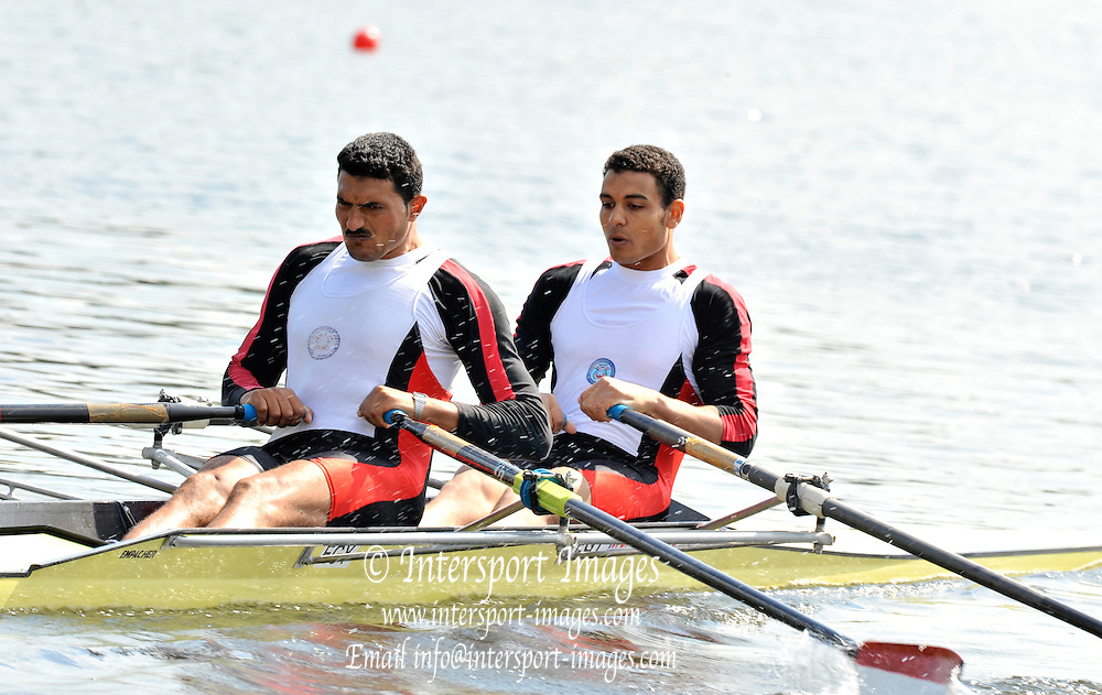 Poznan, POLAND,  EGY M2X, Bow,Ahmed KHAMIS and Hassan EL LAWANDY,  reps, at the 2008 Olympic Qualification  Rowing Regatta. Malta Rowing Course on Tuesday, 17/06/2008. [Mandatory Credit:  Peter SPURRIER / Intersport Images] . Rowing Course:Malta Rowing Course, Poznan, POLAND