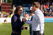 Wycombe Wanderers Manager Gareth Ainsworth greets Sunderland Manager Phil Parkinson during the EFL Sky Bet League 1 match between Wycombe Wanderers and Sunderland at Adams Park, High Wycombe, England on 19 October 2019.