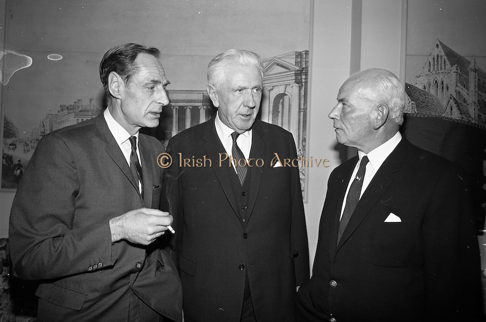 11/10/1966<br /> 10/11/1966<br /> 11 October 1966<br /> Press conference to announce merger of Dublin Dairies at Jury's Hotel, Dublin. Directors of three Dublin Dairies, Dublin Dairies Ltd., Merville Dairies Ltd. and Sutton's Tel-el-Kebir Dairy Ltd., announced the merger subject to ratification by shareholders. A new company, Premier Dairies Ltd. had been created to co-ordinate the three companies. Picture shows: Mr. Victor Craigie, Director of Merville Dairies Ltd; Mr Patrick Power, Director of Dublin Dairies Ltd. and Mr. George Sutton, Director of Suttons Tel-el-Kebir Ltd. at the meeting.