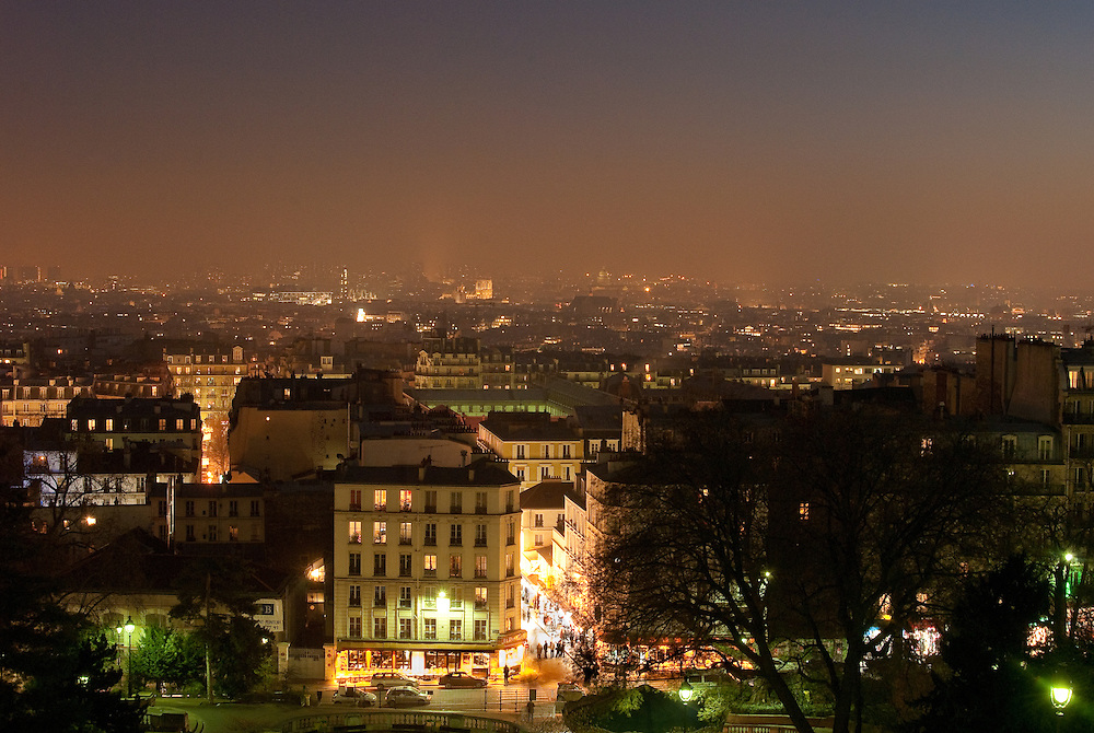 View over Paris at night from Montmartre.