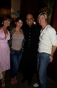 Lesley Clarke,  Sadie Frost, Dr. Nish Joshi and Nicky Clarke. Book launch for Dr. Joshi's Holistic Dett. The Arts Club, 40 Dover st. London. 26 May 2005. ONE TIME USE ONLY - DO NOT ARCHIVE  © Copyright Photograph by Dafydd Jones 66 Stockwell Park Rd. London SW9 0DA Tel 020 7733 0108 www.dafjones.com