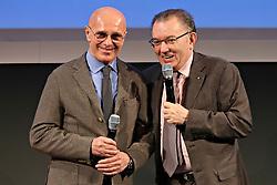 GIORGIO SQUINZI CON ARRIGO SACCHI<br /> RIUNIONE VENDITE ITALIA 2014 MAPEI<br /> REGGIO EMILIA 28-02 01-03 2014<br /> FOTO FILIPPO RUBIN