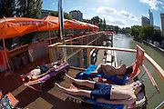 "The ""Badeschiff"", a brand new, floating public bath anchored at the Donaukanal (Danube Channel) near Urania."