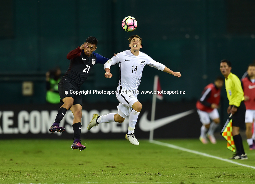 Michael Orozco and Louis Fenton (R), Washington, D.C. - October 11, 2016: The U.S. Men's National team take on New Zealand in an international friendly game at RFK Stadium.<br /> Copyright photo: Brad Smith / www.photosport.nz