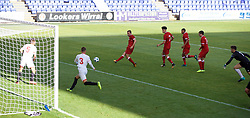 BIRKENHEAD, ENGLAND - Wednesday, September 13, 2017: Liverpool's Herbie Kane scores his sides second goal during the UEFA Youth League Group E match between Liverpool and Sevilla at Prenton Park. (Pic by Paul Greenwood/Propaganda)