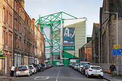 View of Easter Road Stadium home Hibernian Football Club in east end of Edinburgh, Scotland, UK
