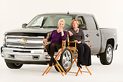 ROYAL OAK, MICHIGAN - OCTOBER 12: Dannielle Hudler, who was the first female advertising department head in the automobile industry, left, and Candace Haag, who was the first woman director of truck advertising in the automobile industry, pose with a Chevy Silverado pickup truck in Royal Oak, MI, Wednesday, October 12, 2011.  (Jeffrey Sauger)