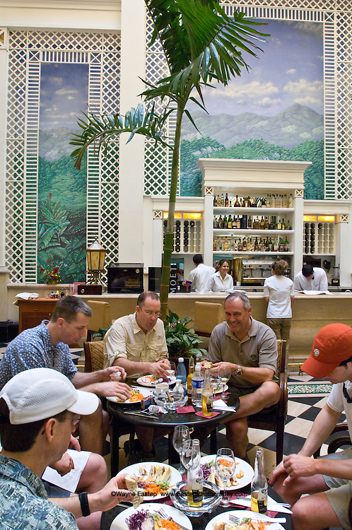 "Feb 24, 2008 four hours after Raul Castro became President.  Canadian Investment Bankers with BMO Nesbitt Burns  arrived to ""go fishing"".  Lunching at the recently restored Sarastoga hotel on Prado street, Havana, Cuba"