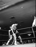 Nash vs Leon Championship Fight.    (N55)..1980..14.12.1980..12.14.1980..14th December 1980..At the Burlington Hotel, Dublin, Charlie Nash defended his European Lightweight Title when he took on Spain's Francesco Leon. .Dodging and weaving Nash is pictured trying to keep out of trouble as Leon forces home his advantage.