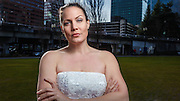 USA, Oregon, Portland. Tom McCall Waterfront Park, disgruntled bride, (actually divorced). MR
