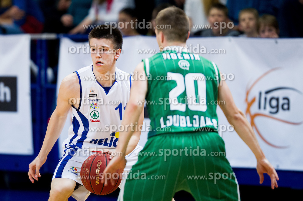 Matic Rebec of Helios during basketball match between KK Helios Domzale and KK Union Olimpija Ljubljana in 7th Round of Telemach League 2012/13 on April 17, 2013 in Arena Komunalni center, Domzale, Slovenia. (Photo By Vid Ponikvar / Sportida)