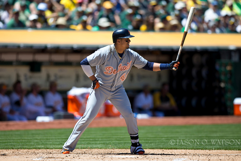 OAKLAND, CA - MAY 26:  Victor Martinez #41 of the Detroit Tigers at bat against the Oakland Athletics during the fourth inning at O.co Coliseum on May 26, 2014 in Oakland, California. The Oakland Athletics defeated the Detroit Tigers 10-0.  (Photo by Jason O. Watson/Getty Images) *** Local Caption *** Victor Martinez