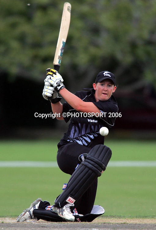 1 March 2006 - New Zealand's Maria Fahey in action during their one day clash against New Zealand 'A' women's team at Lincoln University.