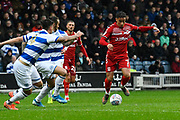 Marcus Tavernier (7) of Middlesbrough on the attack during the EFL Sky Bet Championship match between Queens Park Rangers and Middlesbrough at the Kiyan Prince Foundation Stadium, London, England on 9 November 2019.